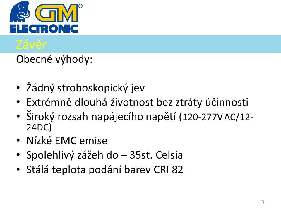 Závěr Obecné výhody: • Žádný stroboskopický jev • Extrémně dlouhá životnost bez ztráty účinnosti • Široký rozsah napájecího napětí ( 120-277V AC/12- 2