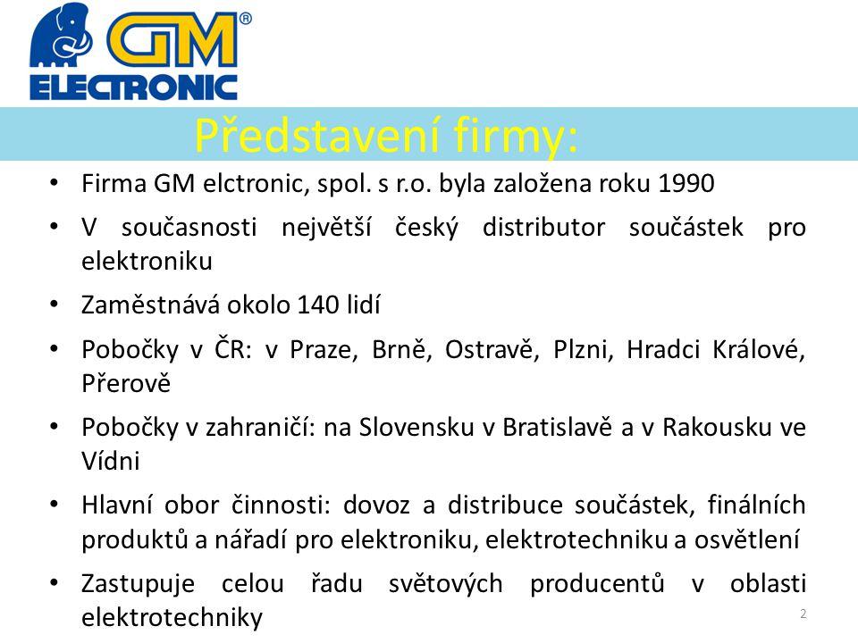 Představení firmy: • Firma GM elctronic, spol. s r.o. byla založena roku 1990 • V současnosti největší český distributor součástek pro elektroniku • Z