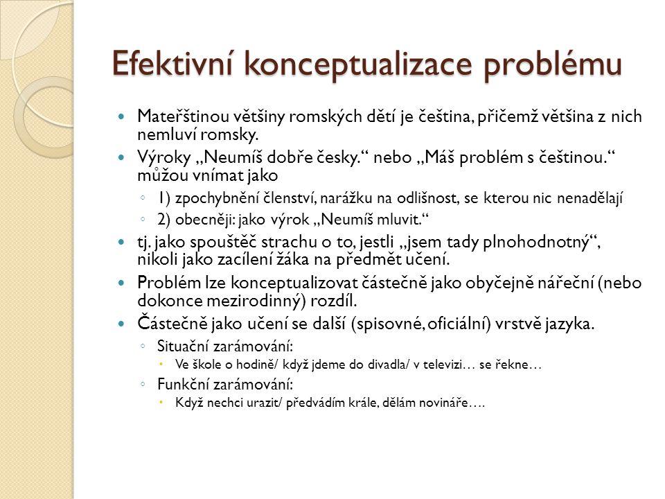 """Efektivní konceptualizace problému  Mateřštinou většiny romských dětí je čeština, přičemž většina z nich nemluví romsky.  Výroky """"Neumíš dobře česky"""