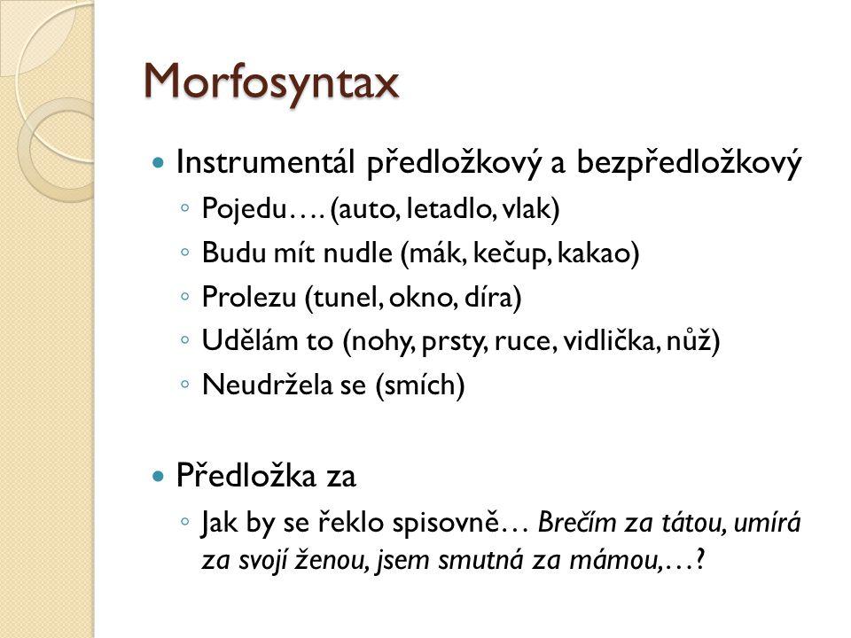 Morfosyntax  Instrumentál předložkový a bezpředložkový ◦ Pojedu…. (auto, letadlo, vlak) ◦ Budu mít nudle (mák, kečup, kakao) ◦ Prolezu (tunel, okno,