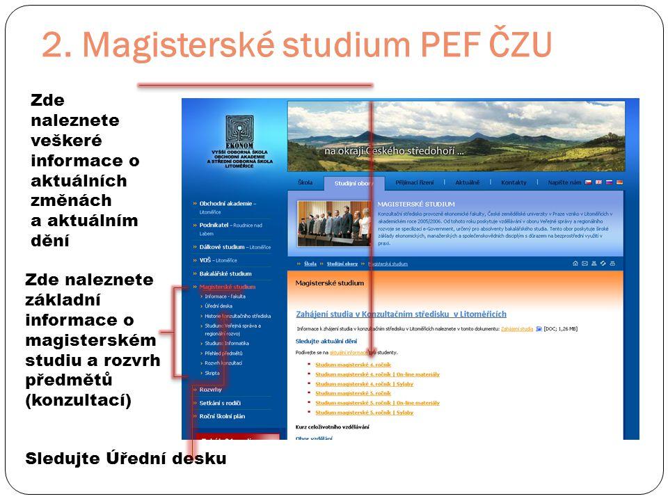 2. Magisterské studium PEF ČZU Zde naleznete základní informace o magisterském studiu a rozvrh předmětů (konzultací) Zde naleznete veškeré informace o