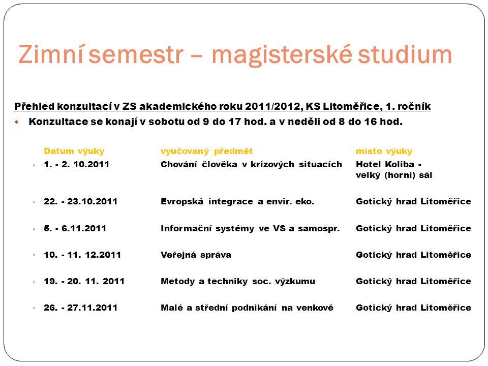 Zimní semestr – magisterské studium Přehled konzultací v ZS akademického roku 2011/2012, KS Litoměřice, 1. ročník  Konzultace se konají v sobotu od 9