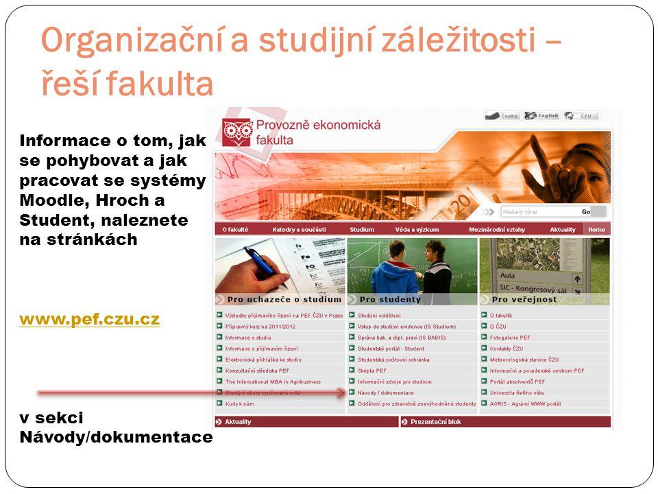 Organizační a studijní záležitosti – řeší fakulta Informace o tom, jak se pohybovat a jak pracovat se systémy Moodle, Hroch a Student, naleznete na stránkách www.pef.czu.cz v sekci Návody/dokumentace