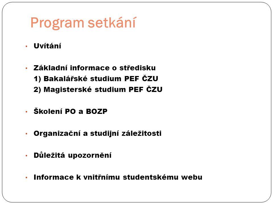 Program setkání • Uvítání • Základní informace o středisku 1) Bakalářské studium PEF ČZU 2) Magisterské studium PEF ČZU • Školení PO a BOZP • Organiza