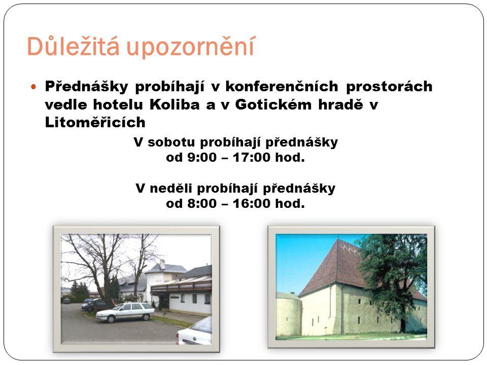 Důležitá upozornění  Přednášky probíhají v konferenčních prostorách vedle hotelu Koliba a v Gotickém hradě v Litoměřicích V sobotu probíhají přednášky od 9:00 – 17:00 hod.