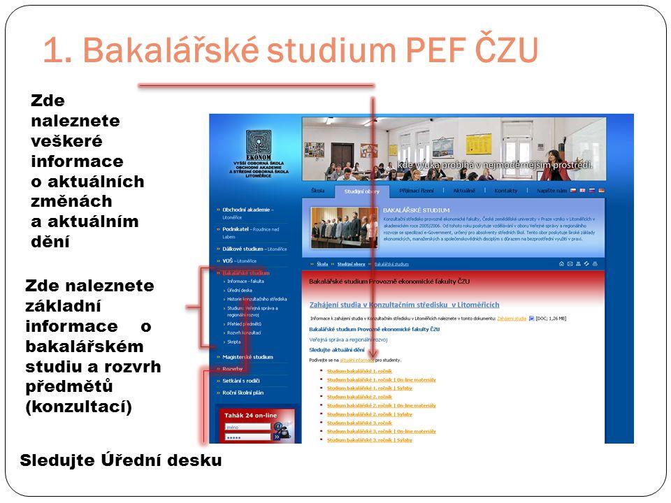 1. Bakalářské studium PEF ČZU Zde naleznete základní informace o bakalářském studiu a rozvrh předmětů (konzultací) Zde naleznete veškeré informace o a