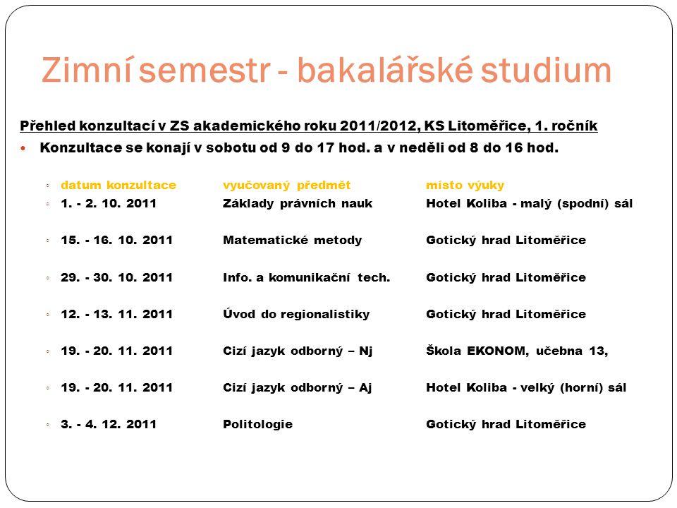 Zimní semestr - bakalářské studium Přehled konzultací v ZS akademického roku 2011/2012, KS Litoměřice, 1. ročník  Konzultace se konají v sobotu od 9