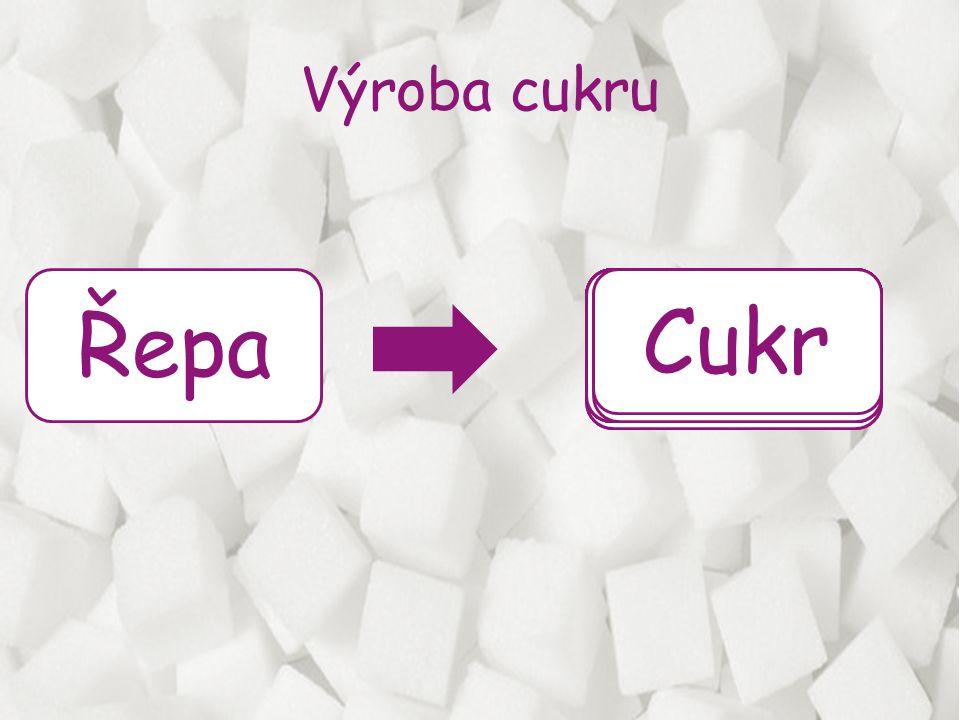 Řepa - základní surovina pro výrobu cukru je bulva řepy, která obsahuje 16-18% sacharosy a vodu, takže se cukr nevyrábí celoročně ale jen od září do prosince Praní - řepné bulvy jsou přiváděny do bubnové pračky, kde se uvolňují nečistoty, potom do seperátorů kamenů a pak se musí od bulvy oddělit stonky, listy a kořínky.