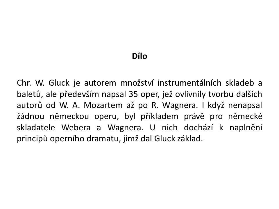 Dílo Chr. W. Gluck je autorem množství instrumentálních skladeb a baletů, ale především napsal 35 oper, jež ovlivnily tvorbu dalších autorů od W. A. M