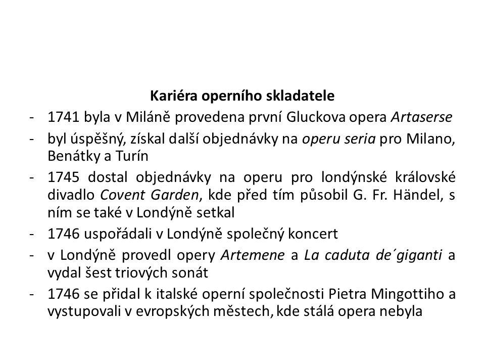 Kariéra operního skladatele -1741 byla v Miláně provedena první Gluckova opera Artaserse -byl úspěšný, získal další objednávky na operu seria pro Mila