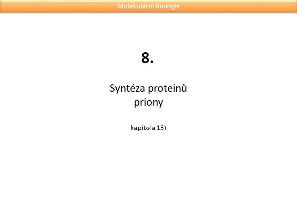 Syntéza proteinů priony. 8. Molekulární biologie kapitola 13)