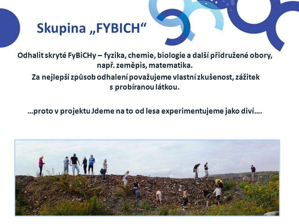 """Skupina """"FYBICH"""" Odhalit skryté FyBiCHy – fyzika, chemie, biologie a další přidružené obory, např. zeměpis, matematika. Za nejlepší způsob odhalení po"""