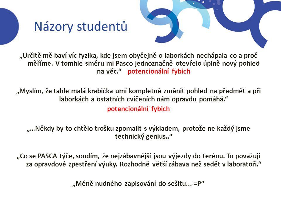 """Názory studentů """"Určitě mě baví víc fyzika, kde jsem obyčejně o laborkách nechápala co a proč měříme. V tomhle směru mi Pasco jednoznačně otevřelo úpl"""
