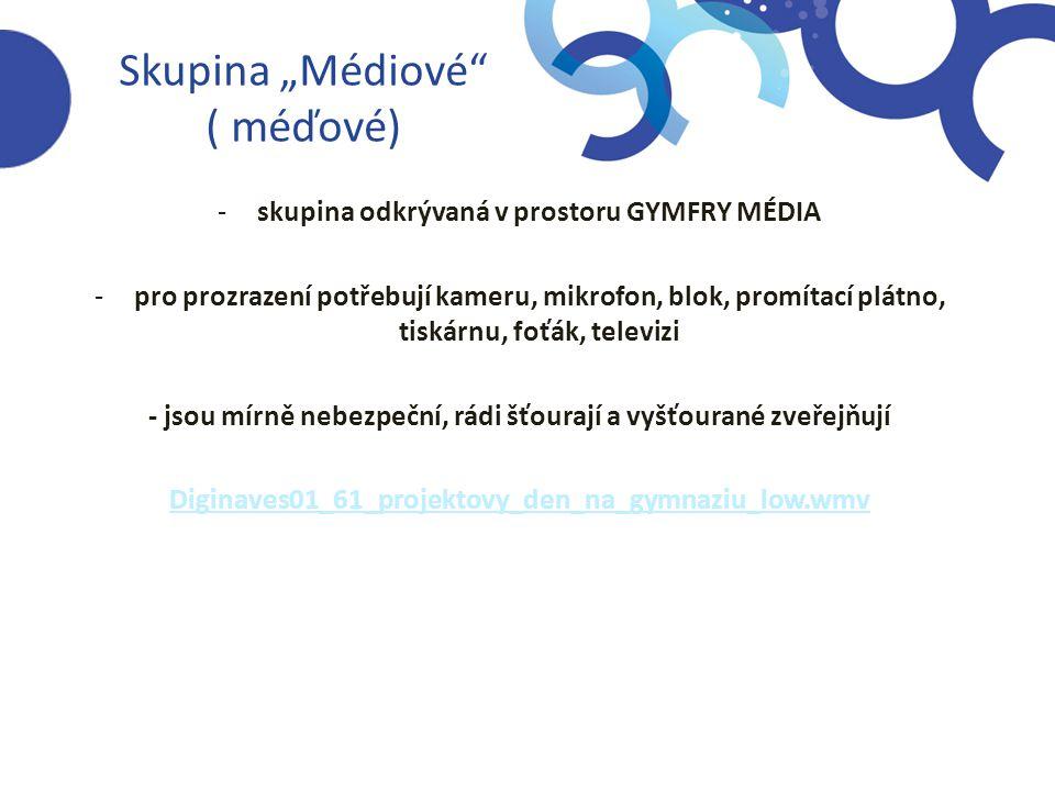 """Skupina """"Médiové ( méďové) -skupina odkrývaná v prostoru GYMFRY MÉDIA -pro prozrazení potřebují kameru, mikrofon, blok, promítací plátno, tiskárnu, foťák, televizi - jsou mírně nebezpeční, rádi šťourají a vyšťourané zveřejňují Diginaves01_61_projektovy_den_na_gymnaziu_low.wmv"""