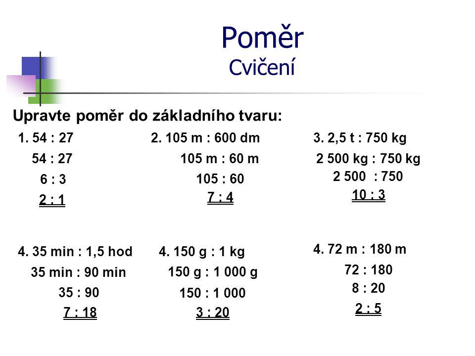 Poměr Cvičení Upravte poměr do základního tvaru: 1. 54 : 272. 105 m : 600 dm 3. 2,5 t : 750 kg 54 : 27 6 : 3 2 : 1 105 m : 60 m 105 : 60 7 : 4 2 500 k
