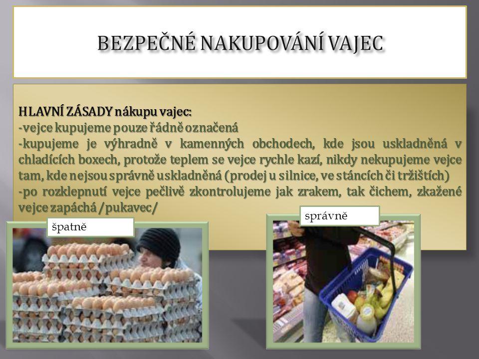 HLAVNÍ ZÁSADY nákupu vajec: -vejce kupujeme pouze řádně označená -kupujeme je výhradně v kamenných obchodech, kde jsou uskladněná v chladících boxech,