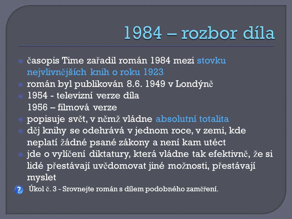  č asopis Time za ř adil román 1984 mezi stovku nejvlivn ě jších knih o roku 1923  román byl publikován 8.6. 1949 v Londýn ě  1954 - televizní verz
