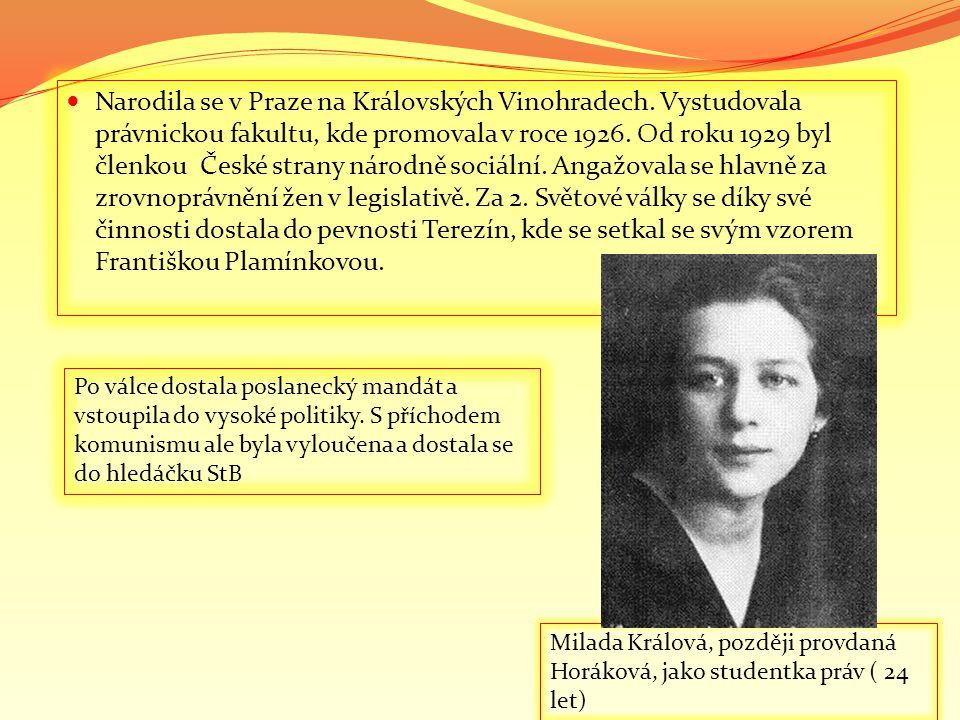  Narodila se v Praze na Královských Vinohradech. Vystudovala právnickou fakultu, kde promovala v roce 1926. Od roku 1929 byl členkou České strany nár