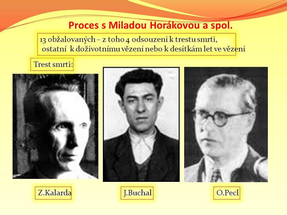 Proces s Miladou Horákovou a spol. J.BuchalZ.Kalarda Trest smrti: 13 obžalovaných – z toho 4 odsouzeni k trestu smrti, ostatní k doživotnímu vězení ne