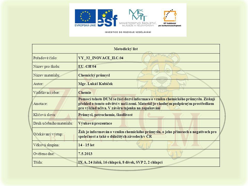 Metodický list Pořadové číslo:VY_32_INOVACE_II.C.04 Název pro školu:EU CH 04 Název materiálu:Chemický průmysl Autor:Mgr. Lukáš Kubíček Vzdělávací obor