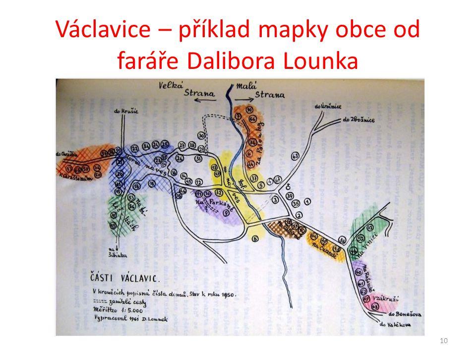 Václavice – příklad mapky obce od faráře Dalibora Lounka 10