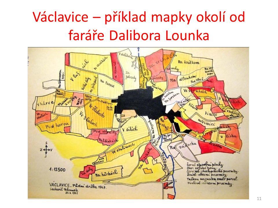 Václavice – příklad mapky okolí od faráře Dalibora Lounka 11