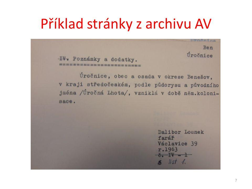 Příklad stránky z archivu AV 7
