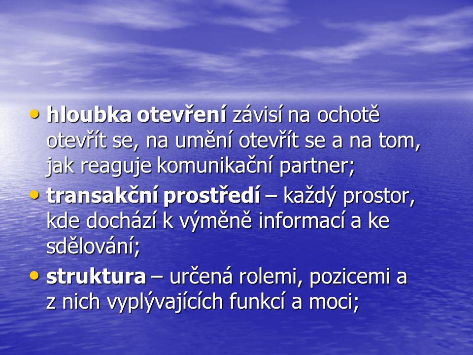 komunikační motivy: • 1) navázat kontakt a utvářet vztah; • 2) kontrolně – mocenský; • 3) poznávací;