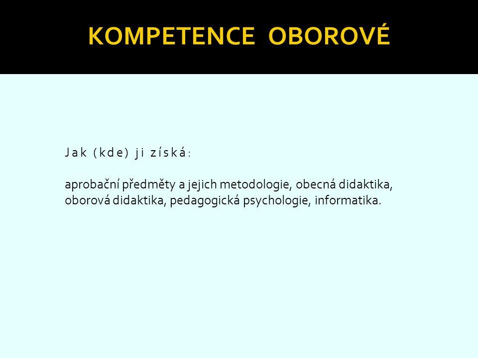 KOMPETENCE OBOROVÉ Jak (kde) ji získá: aprobační předměty a jejich metodologie, obecná didaktika, oborová didaktika, pedagogická psychologie, informat