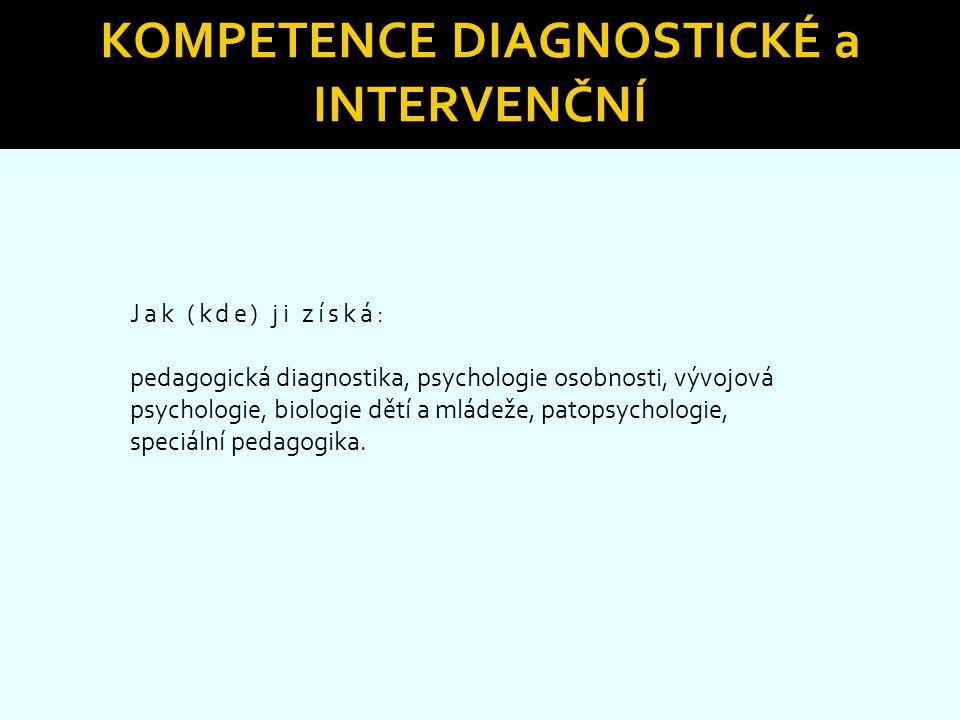 KOMPETENCE DIAGNOSTICKÉ a INTERVENČNÍ Jak (kde) ji získá: pedagogická diagnostika, psychologie osobnosti, vývojová psychologie, biologie dětí a mládež