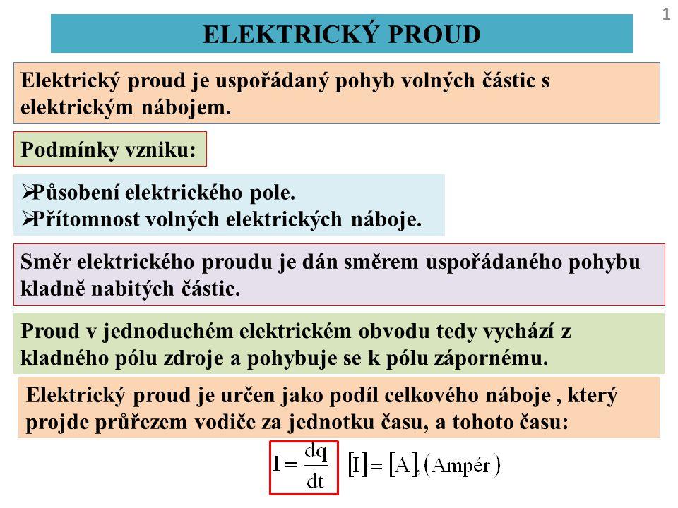 ELEKTRICKÝ PROUD 1 Elektrický proud je uspořádaný pohyb volných částic s elektrickým nábojem. Podmínky vzniku:  Působení elektrického pole.  Přítomn
