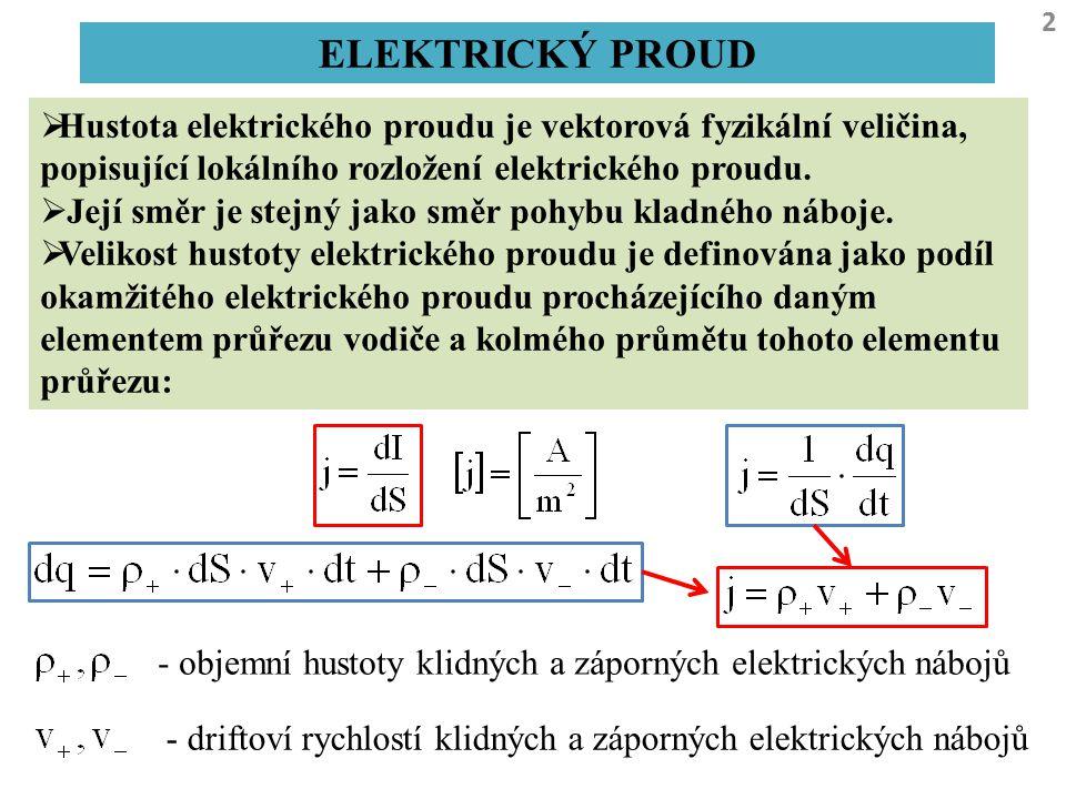 2 ELEKTRICKÝ PROUD  Hustota elektrického proudu je vektorová fyzikální veličina, popisující lokálního rozložení elektrického proudu.  Její směr je s