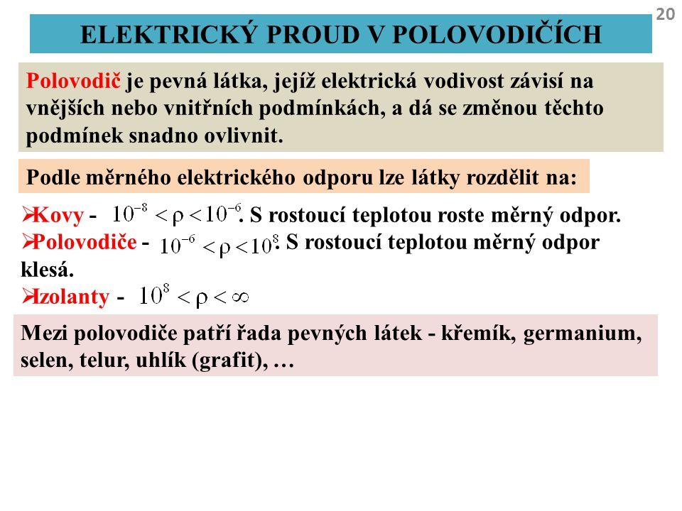 20 ELEKTRICKÝ PROUD V POLOVODIČÍCH Polovodič je pevná látka, jejíž elektrická vodivost závisí na vnějších nebo vnitřních podmínkách, a dá se změnou tě