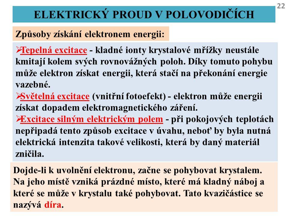 22 ELEKTRICKÝ PROUD V POLOVODIČÍCH Způsoby získání elektronem energii:  Tepelná excitace - kladné ionty krystalové mřížky neustále kmitají kolem svýc