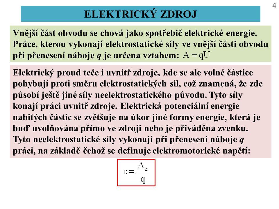 4 ELEKTRICKÝ ZDROJ Vnější část obvodu se chová jako spotřebič elektrické energie. Práce, kterou vykonají elektrostatické síly ve vnější části obvodu p