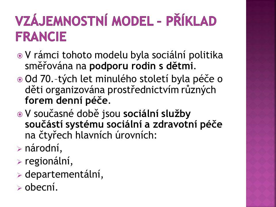  V rámci tohoto modelu byla sociální politika směřována na podporu rodin s dětmi.  Od 70.–tých let minulého století byla péče o děti organizována pr