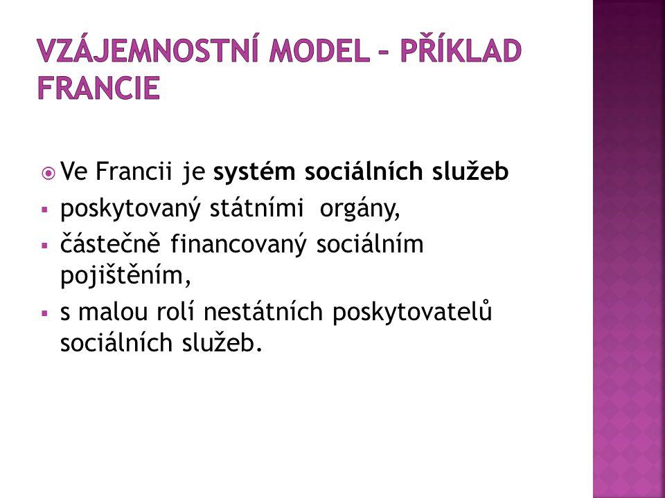  Ve Francii je systém sociálních služeb  poskytovaný státními orgány,  částečně financovaný sociálním pojištěním,  s malou rolí nestátních poskyto
