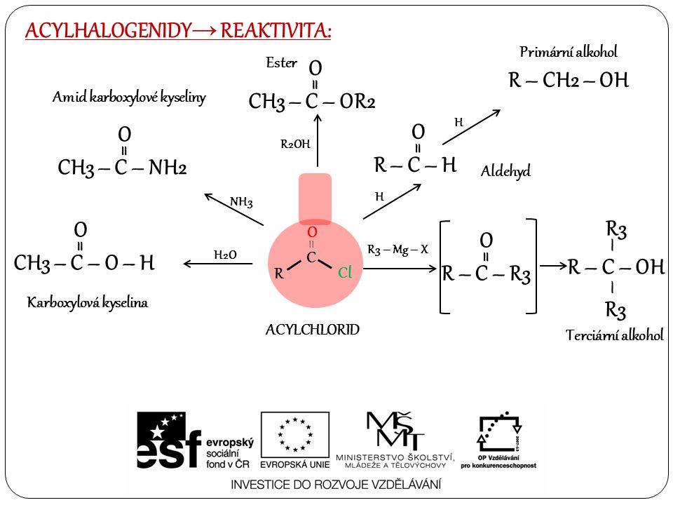 ACYLHALOGENIDY → REAKTIVITA: R3 – Mg – X H2O NH3 H CH3 – C – O – H O = CH3 – C – NH2 O = R – C – H O = H R – CH2 – OH R – C – OH – – R3 Karboxylová ky