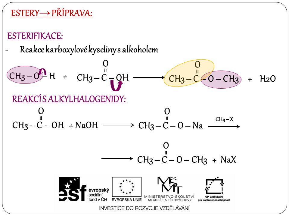 ESTERY → PŘÍPRAVA: ESTERIFIKACE: -Reakce karboxylové kyseliny s alkoholem CH3 – O – H + CH3 – C – OH O = CH3 – C – O – CH3 + H2O O = CH3 – X CH3 – C –