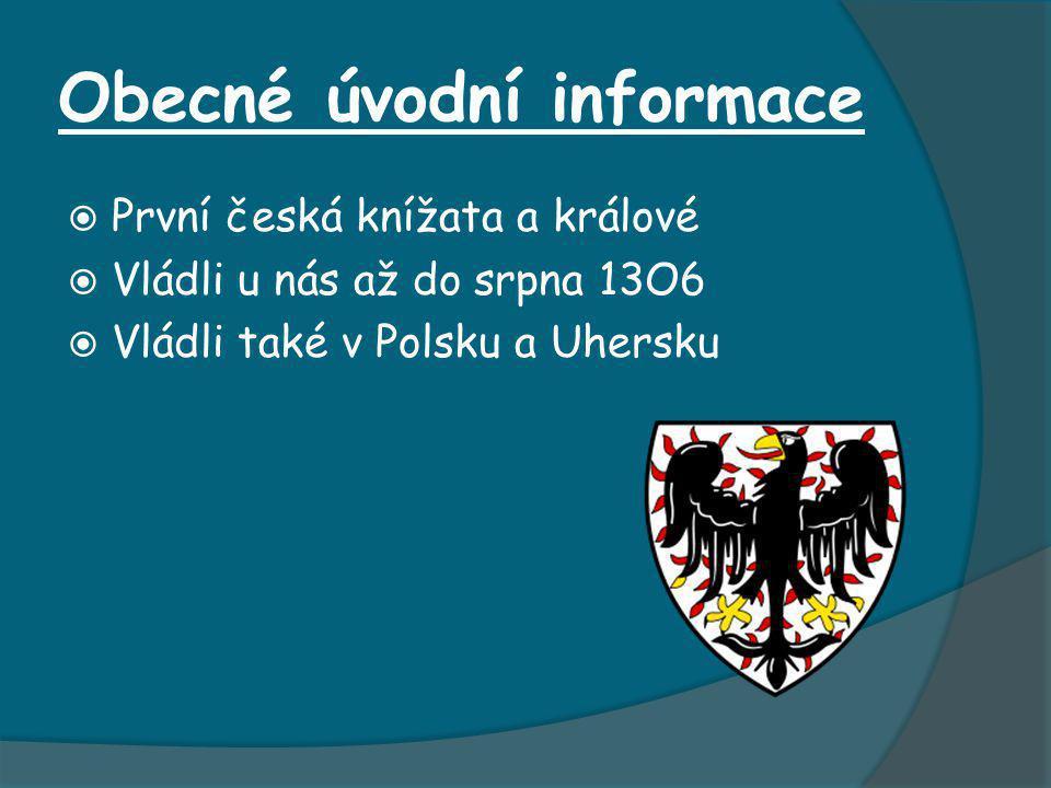 Obecné úvodní informace  První česká knížata a králové  Vládli u nás až do srpna 13O6  Vládli také v Polsku a Uhersku