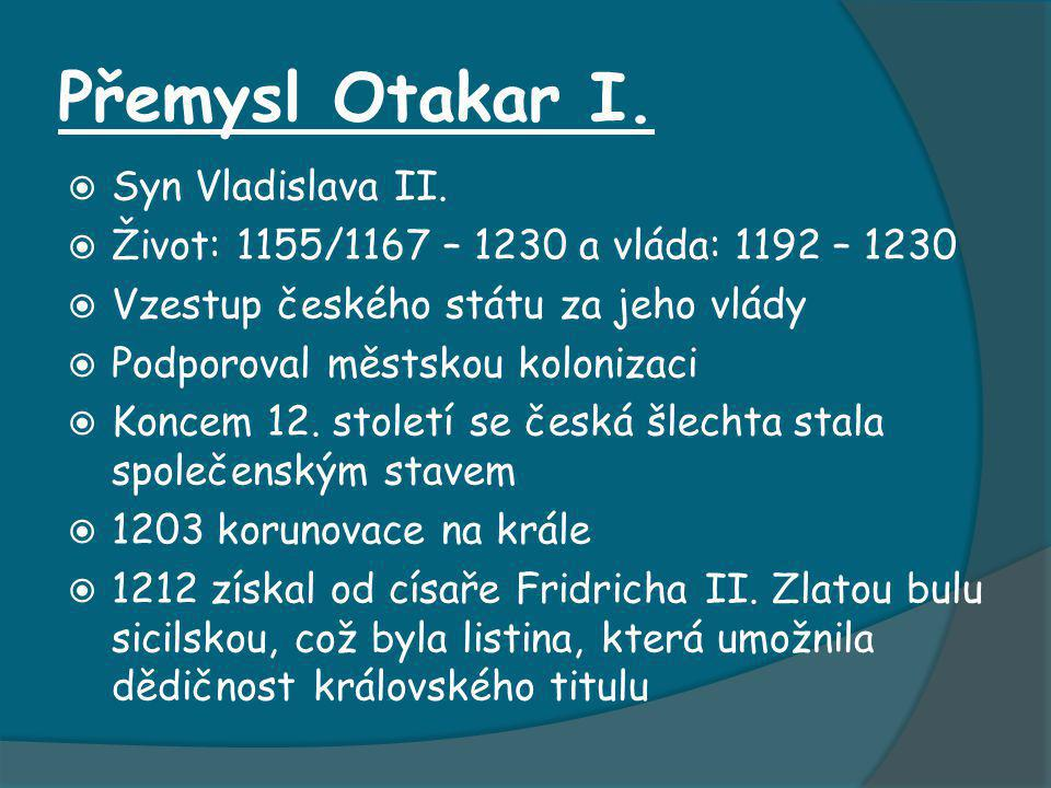 Přemysl Otakar I. Syn Vladislava II.