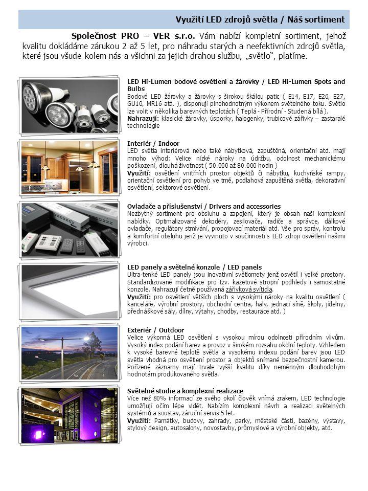 LED jako investice Zakoupení LED zdrojů světla = investice.