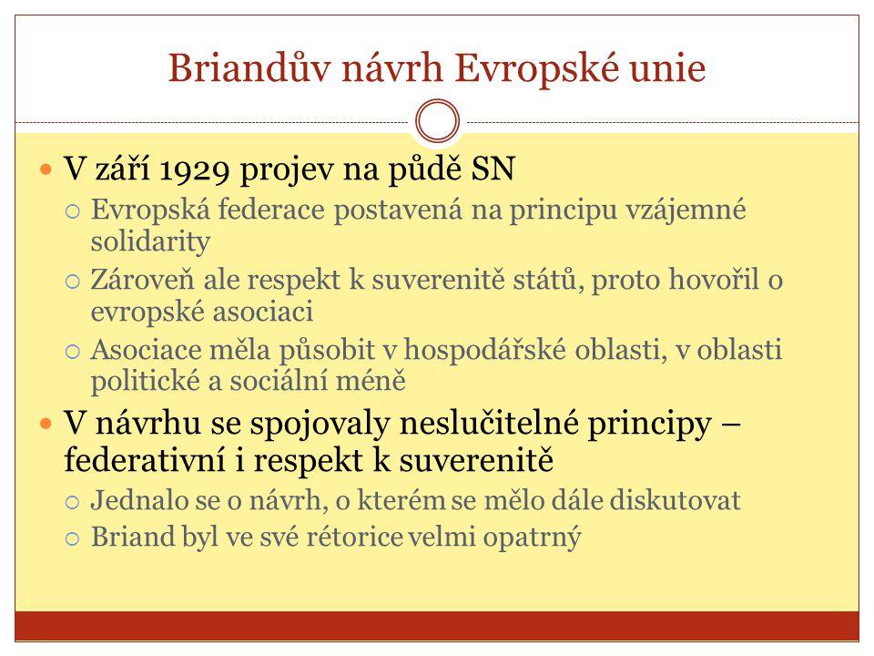 Briandův návrh Evropské unie  V září 1929 projev na půdě SN  Evropská federace postavená na principu vzájemné solidarity  Zároveň ale respekt k suv