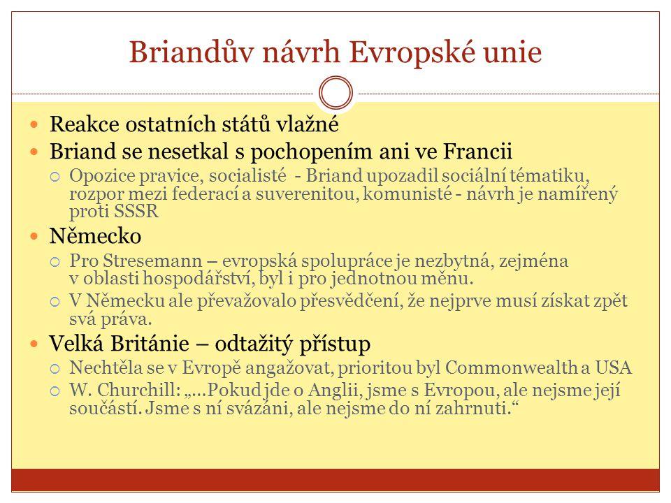 Briandův návrh Evropské unie  Reakce ostatních států vlažné  Briand se nesetkal s pochopením ani ve Francii  Opozice pravice, socialisté - Briand u