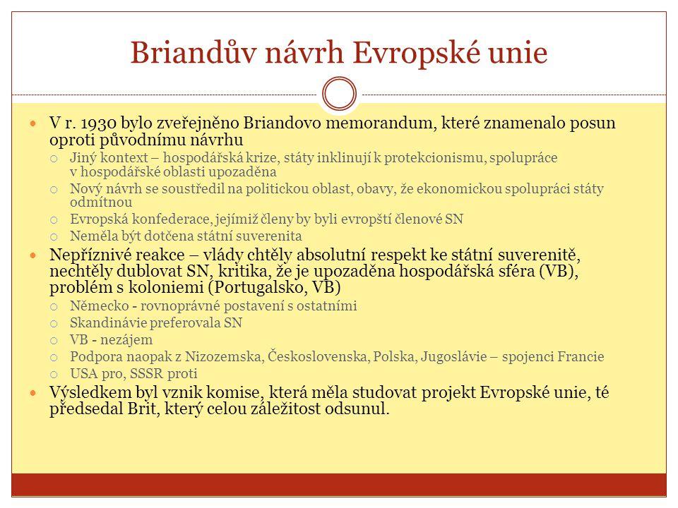 Briandův návrh Evropské unie  V r. 1930 bylo zveřejněno Briandovo memorandum, které znamenalo posun oproti původnímu návrhu  Jiný kontext – hospodář