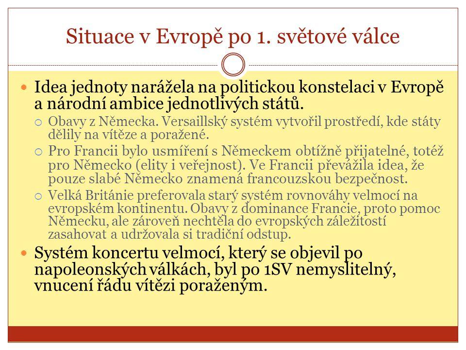 Situace v Evropě po 1. světové válce  Idea jednoty narážela na politickou konstelaci v Evropě a národní ambice jednotlivých států.  Obavy z Německa.