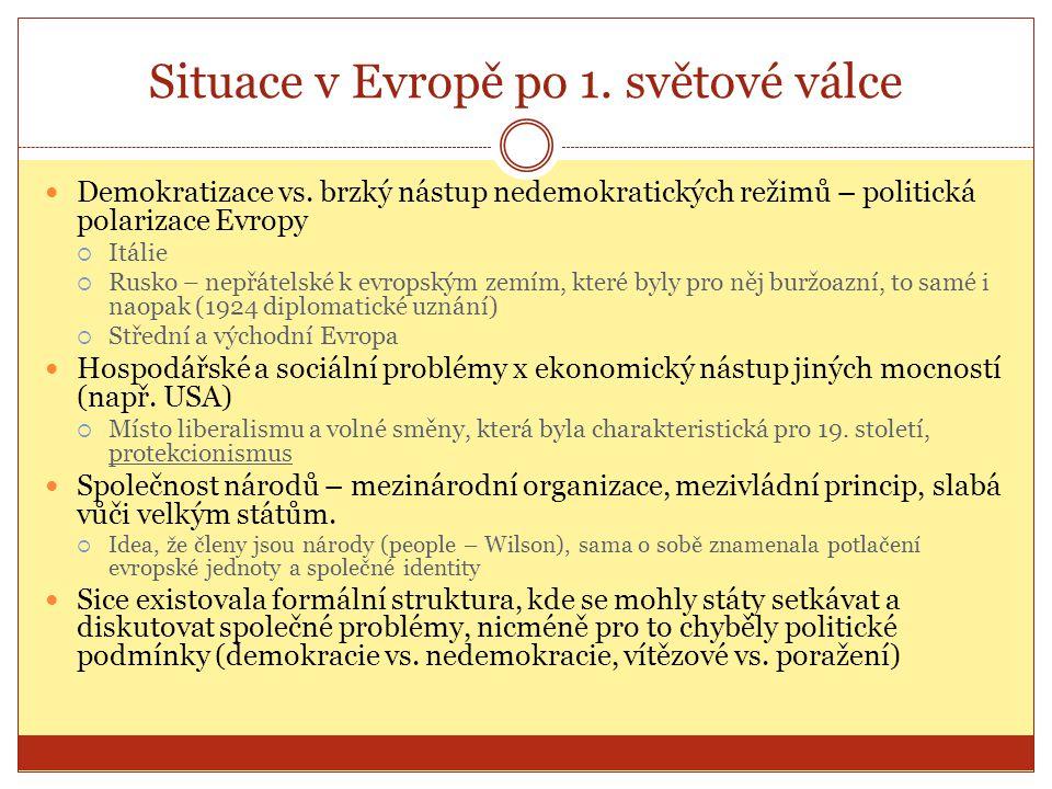 Situace v Evropě po 1. světové válce  Demokratizace vs. brzký nástup nedemokratických režimů – politická polarizace Evropy  Itálie  Rusko – nepřáte
