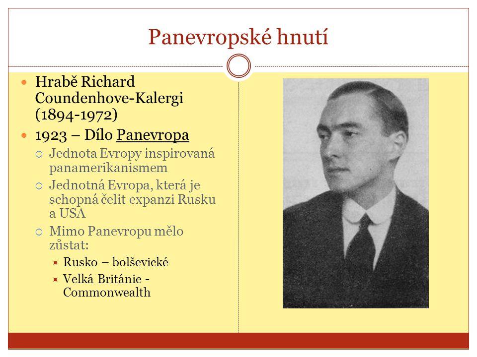 Panevropské hnutí  Hrabě Richard Coundenhove-Kalergi (1894-1972)  1923 – Dílo Panevropa  Jednota Evropy inspirovaná panamerikanismem  Jednotná Evr