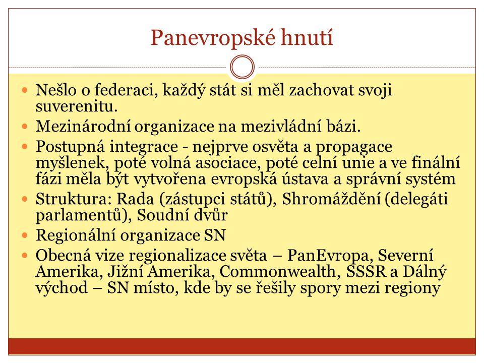 Panevropské hnutí  Nešlo o federaci, každý stát si měl zachovat svoji suverenitu.  Mezinárodní organizace na mezivládní bázi.  Postupná integrace -