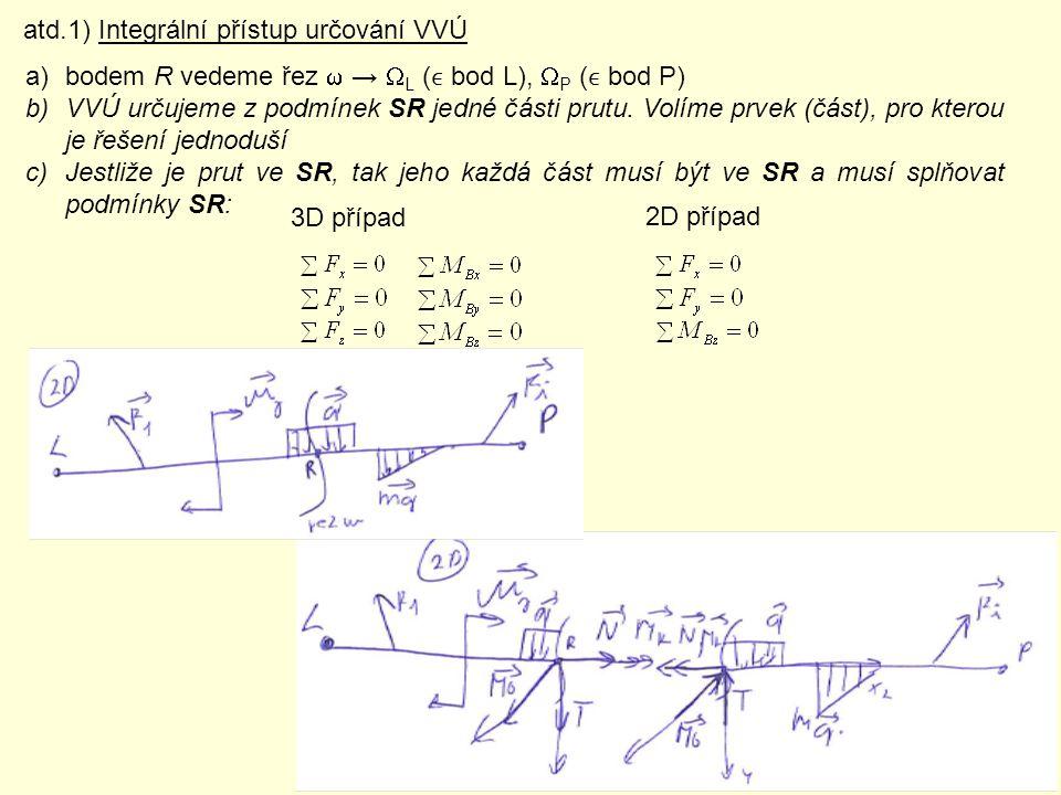 a)bodem R vedeme řez  →  L ( bod L),  P ( bod P) b)VVÚ určujeme z podmínek SR jedné části prutu. Volíme prvek (část), pro kterou je řešení jednodu